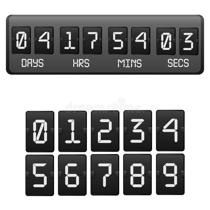 现实详细的3d黑色读秒定时器 向量 库存例证