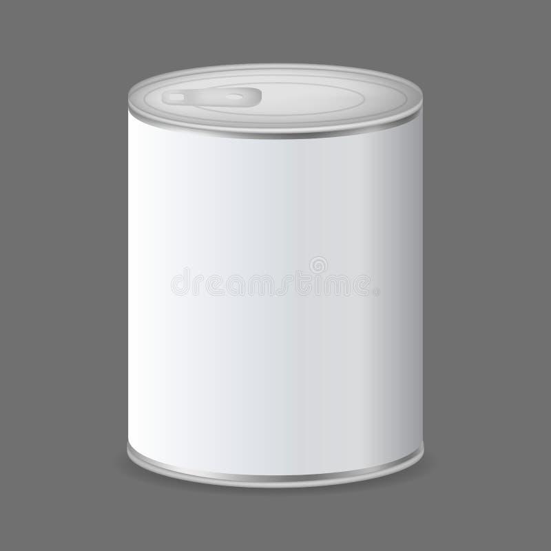 现实详述的3d装包装在灰色的金属于罐中 ?? 皇族释放例证