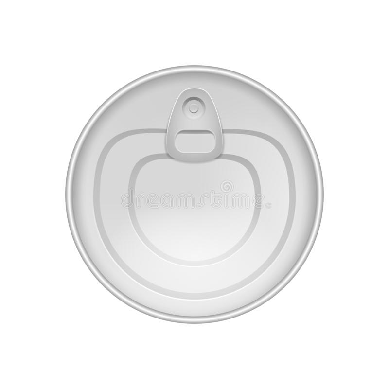 现实详述的3d装包装顶视图的金属于罐中 ?? 库存例证