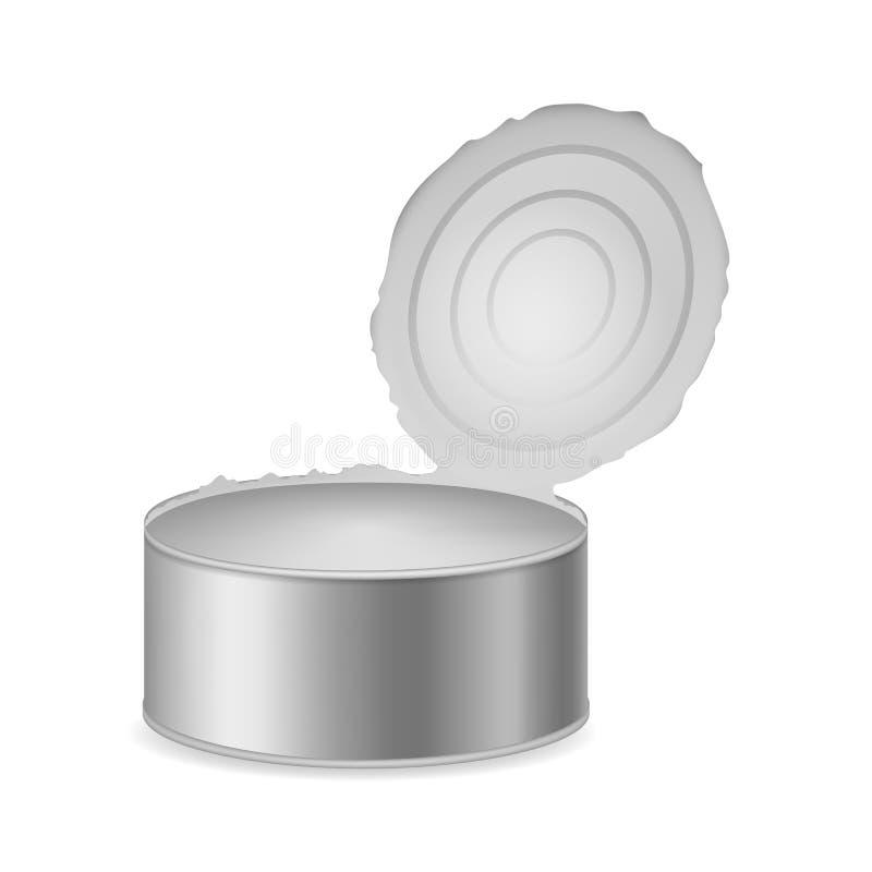 现实详述的3d装被打开于罐中的金属包装 ?? 库存例证