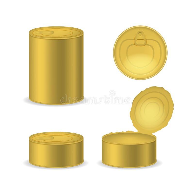 现实详述的3d装金属包装的集合于罐中 ?? 向量例证