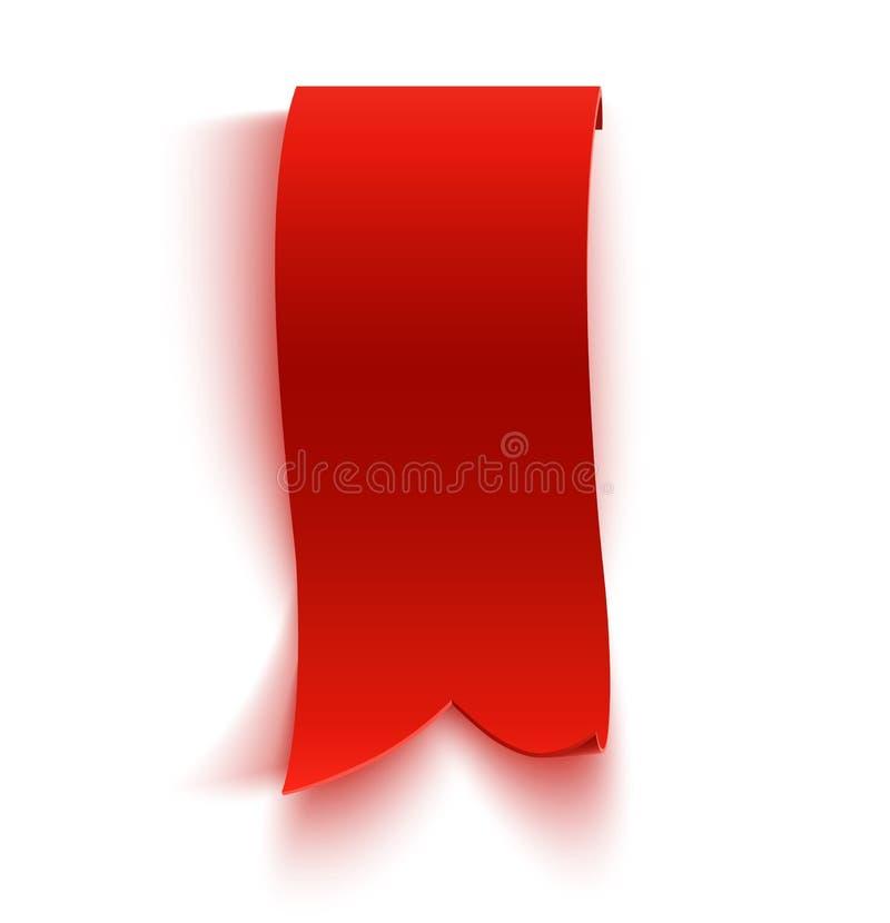 现实详细的弯曲的红色纸横幅,丝带 库存例证