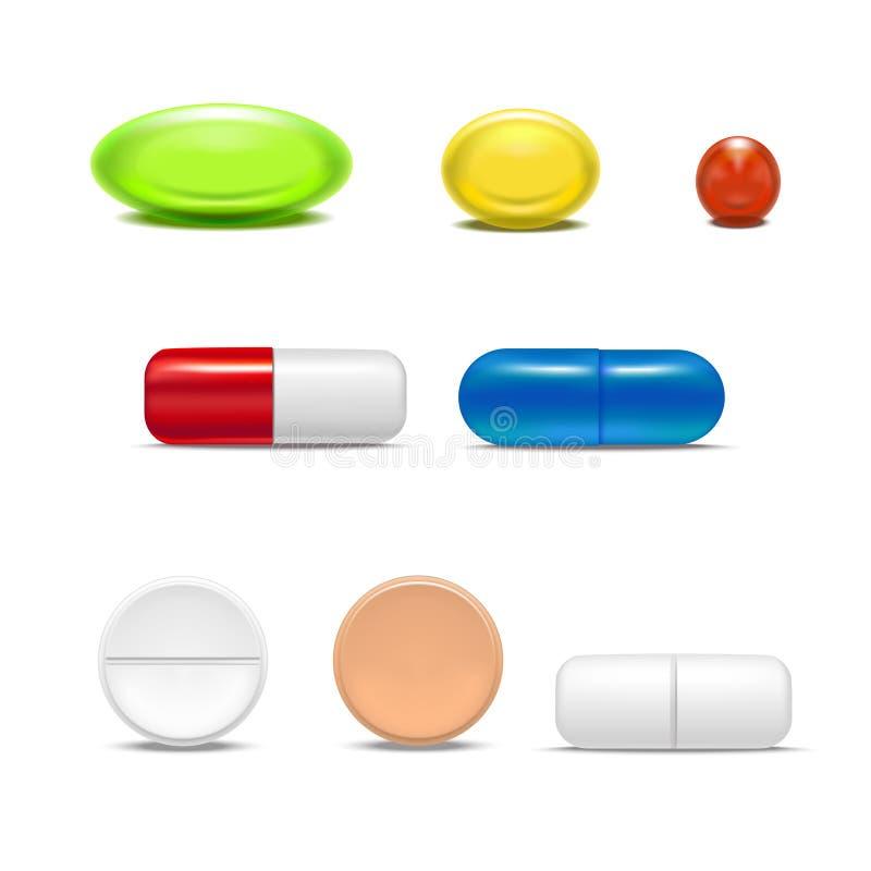 现实详细的被设置的药片胶囊和药物 向量 皇族释放例证