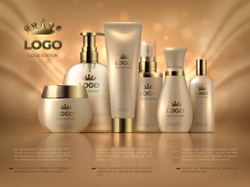 现实豪华化妆背景 皮肤护理产品金黄构成奶油妇女面孔关心光滑的广告 化妆瓶模板 向量例证