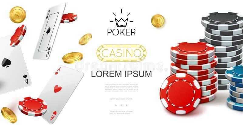 现实赌博娱乐场五颜六色的构成 向量例证