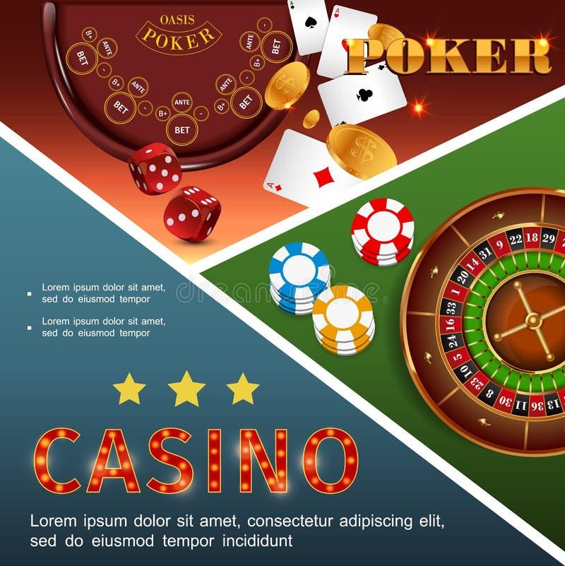 现实赌博娱乐场五颜六色的概念 向量例证