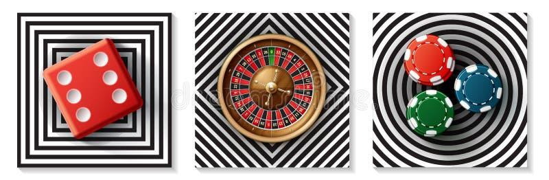 现实赌博娱乐场元素收藏 向量例证