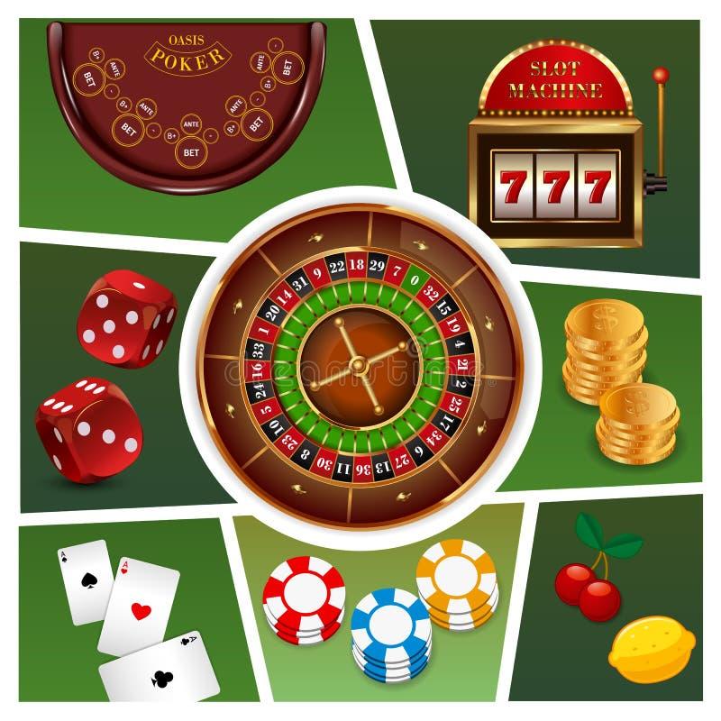 现实赌博娱乐场元素构成 皇族释放例证