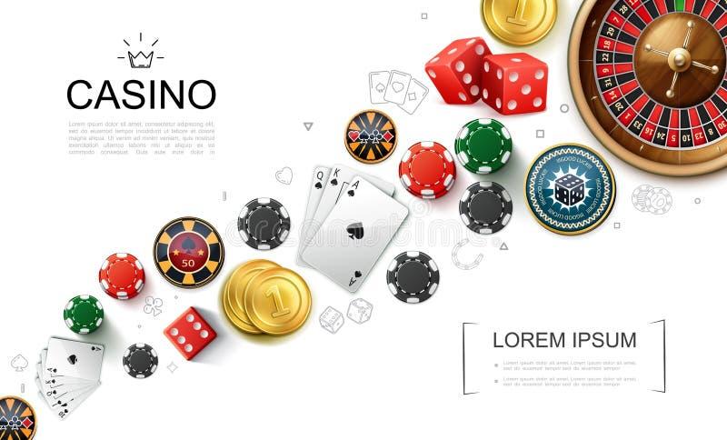 现实赌博娱乐场元素概念 皇族释放例证
