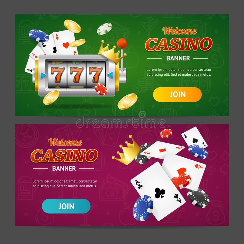 现实赌博娱乐场横幅水平的集合 向量 皇族释放例证