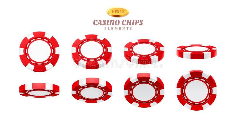 现实赌博娱乐场芯片的动画魍魉 皇族释放例证