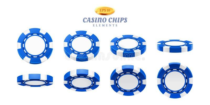 现实赌博娱乐场芯片的动画魍魉 库存例证