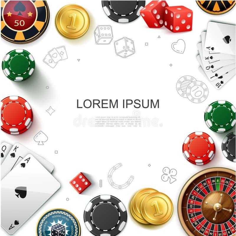 现实赌博娱乐场赌博的模板 库存例证