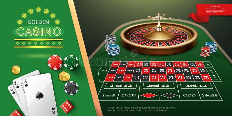 现实赌博娱乐场轮盘赌模板 向量例证