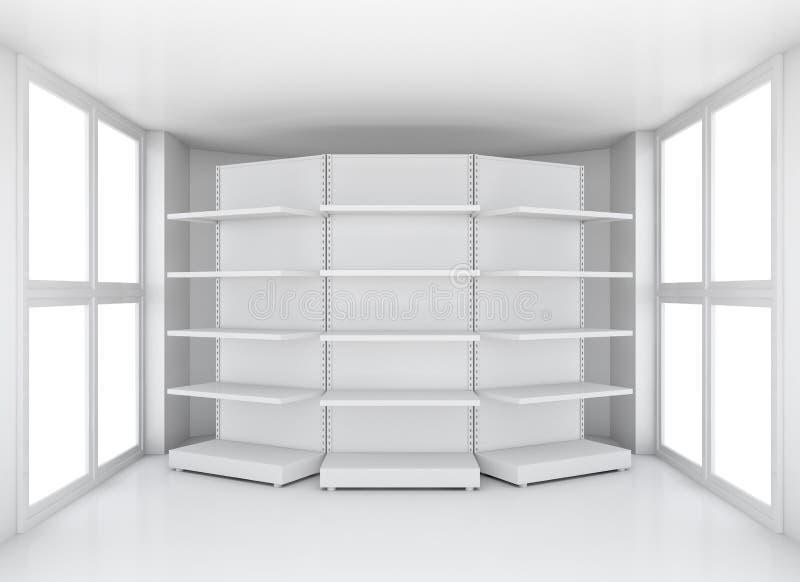 现实超级市场架子在有窗口的屋子里 向量例证