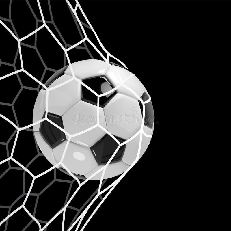 现实足球或橄榄球球在网在黑背景 3d样式传染媒介球 皇族释放例证