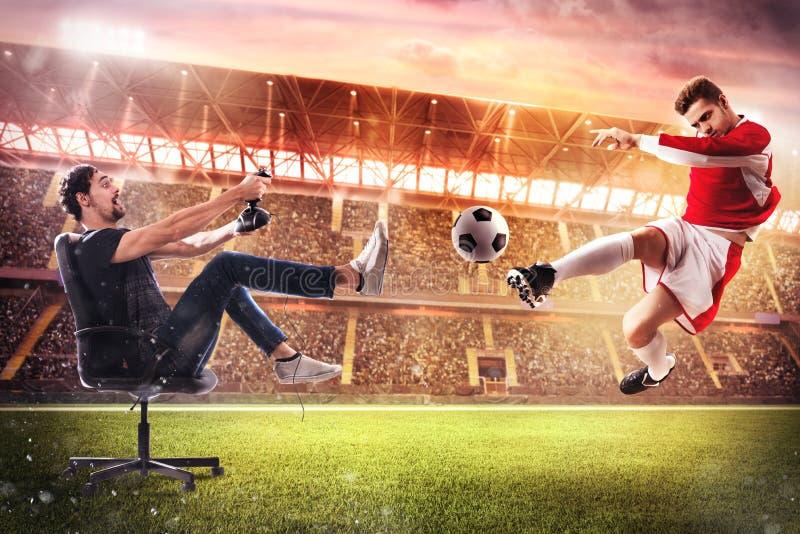 现实足球电子游戏 库存照片