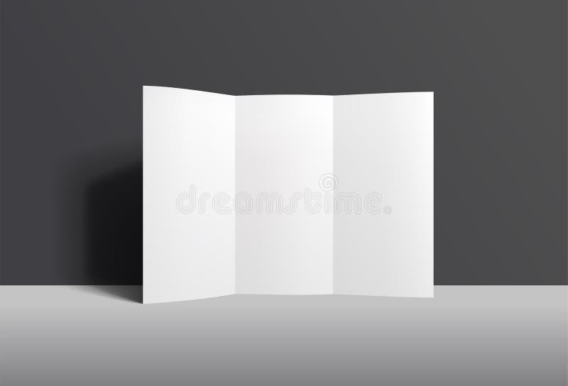 现实身分被折叠的小册子大模型 砖灰色纸棍子磁带墙壁白色 库存例证