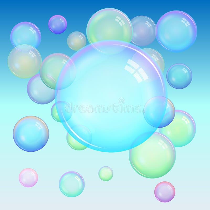 现实透明五颜六色的肥皂bubbl五颜六色的背景  库存例证