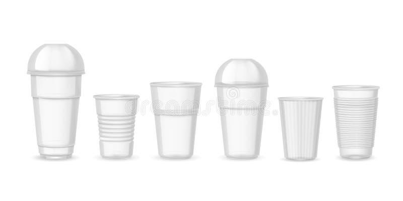 塑料杯子 现实透明咖啡汁和饮料容器大模型 传染媒介被隔绝的设计模板  库存例证