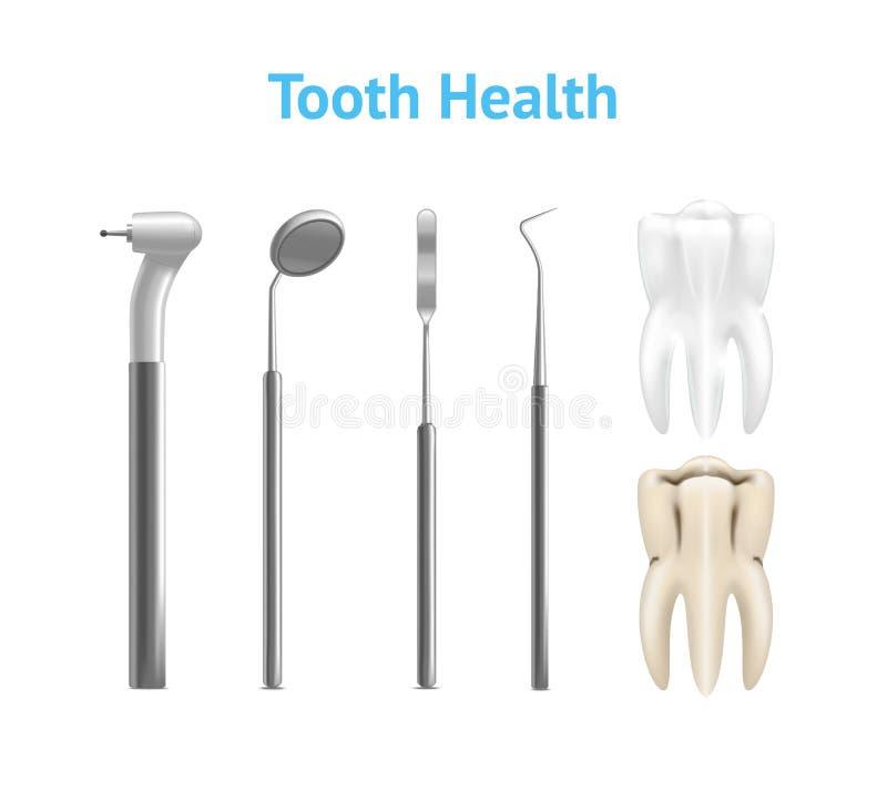 现实金属牙科设备或仪器被设置的和牙 库存例证