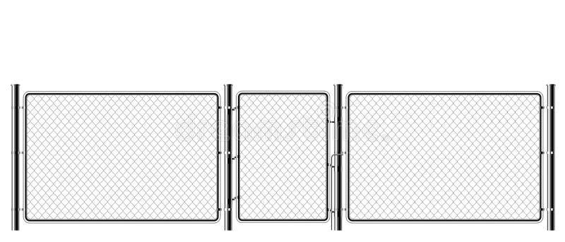 现实金属链节篱芭 艺术设计门 监狱障碍,被巩固的物产 篱芭铁丝网钢链节  皇族释放例证