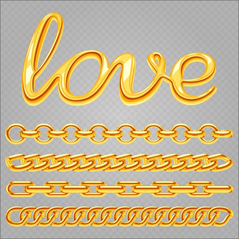 现实金首饰链子和在透明背景隔绝的爱标志 库存例证