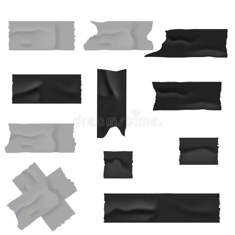 现实银和黑输送管橡皮膏 也corel凹道例证向量 库存例证