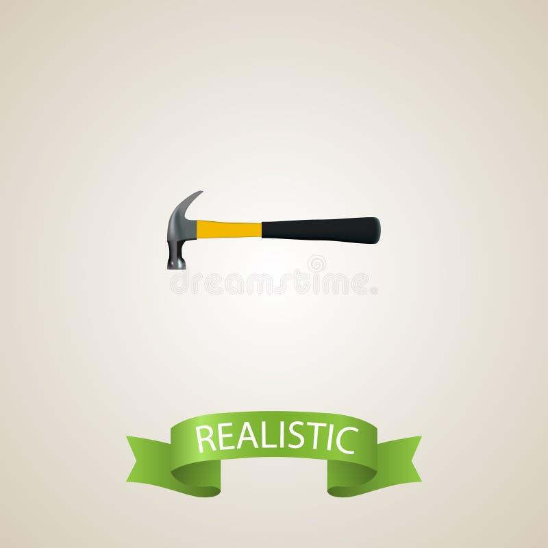 现实锤子元素 在干净的背景隔绝的现实爪的传染媒介例证 能使用作为爪 皇族释放例证