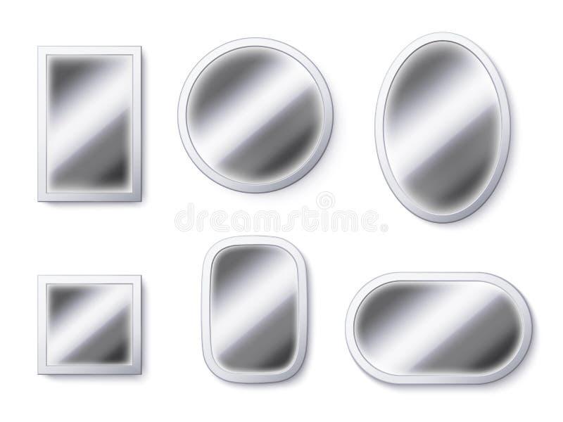现实镜子表面 镜子框架,反射性表面和反映玻璃3D隔绝了传染媒介例证 向量例证