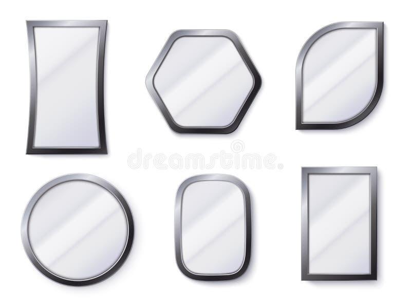 现实镜子 在框架的反射性镜子表面,反映玻璃和圆的镜子3D被隔绝的传染媒介例证 库存例证