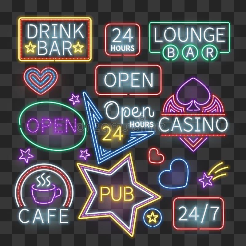 现实霓虹酒吧照明在透明背景签字 向量例证