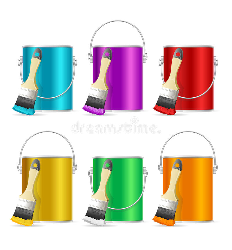 现实颜色钢可能用桶提和画笔 向量 皇族释放例证