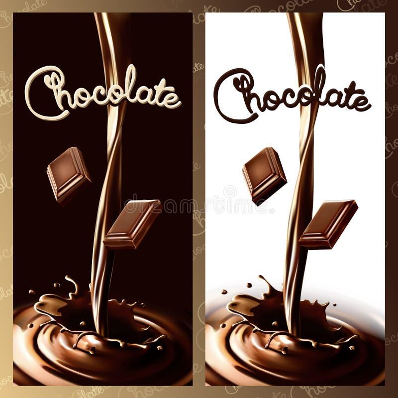 现实飞溅流动的巧克力或可可粉与巧克力片 库存例证