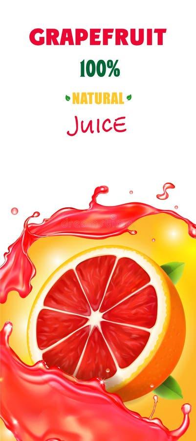 现实食品包装的汁液柑橘葡萄柚垂直的横幅设计  库存例证