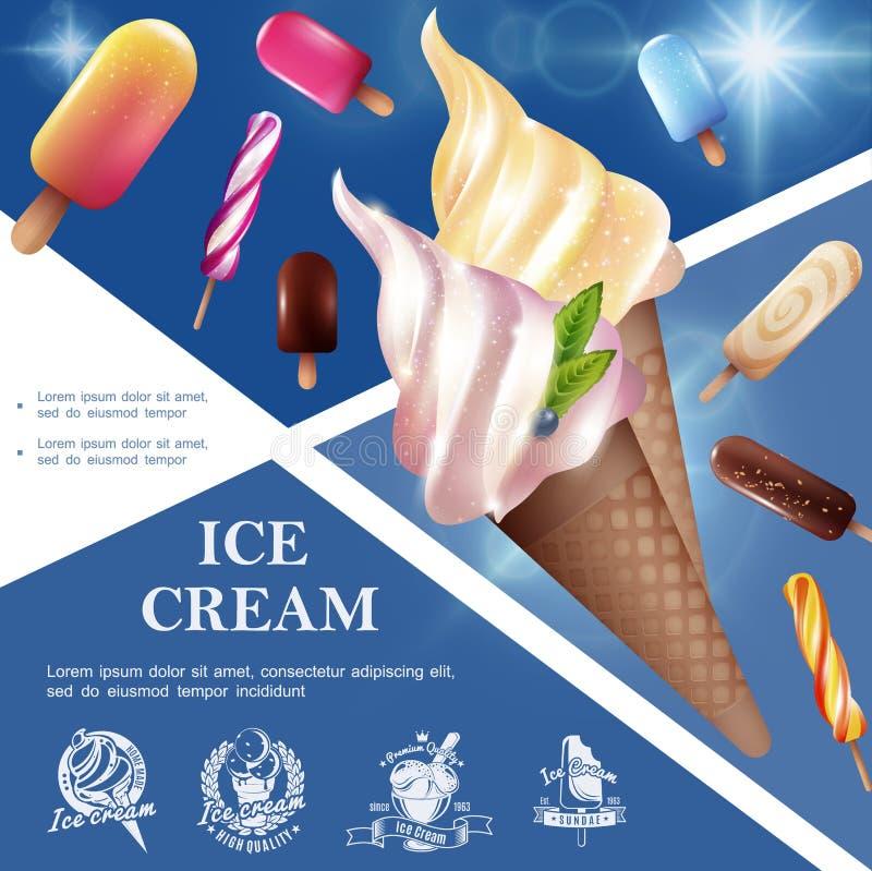 现实鲜美冰淇淋模板 库存例证