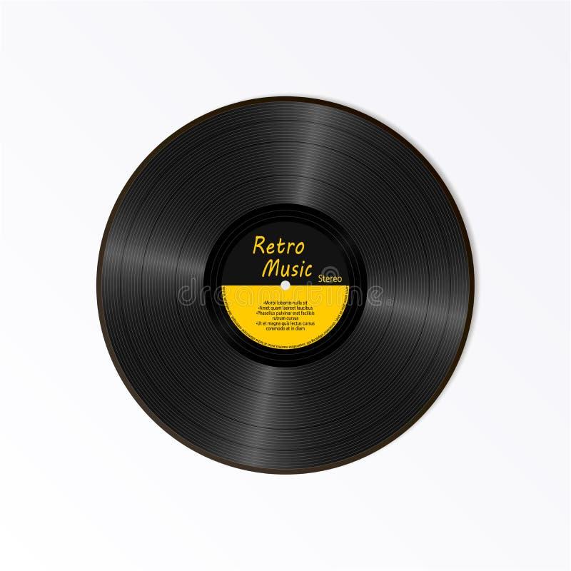 现实黑唱片 减速火箭的合理的载体 新的与文本的留声机黄色标签LP纪录 音乐慢转册页圆盘 库存例证