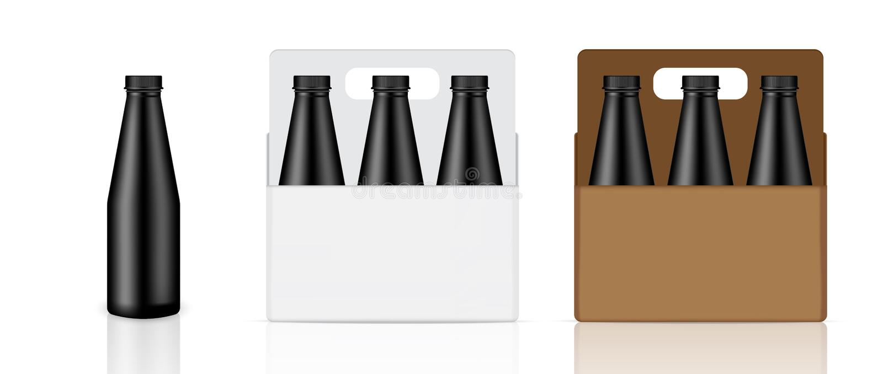 现实黑瓶、纸盒、箱子和包装的饮料产品的嘲笑牛奶或水汁液的隔绝了背景 库存照片