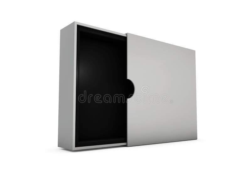现实更加白色的被打开的空白的箱子的例证有阴影的 皇族释放例证