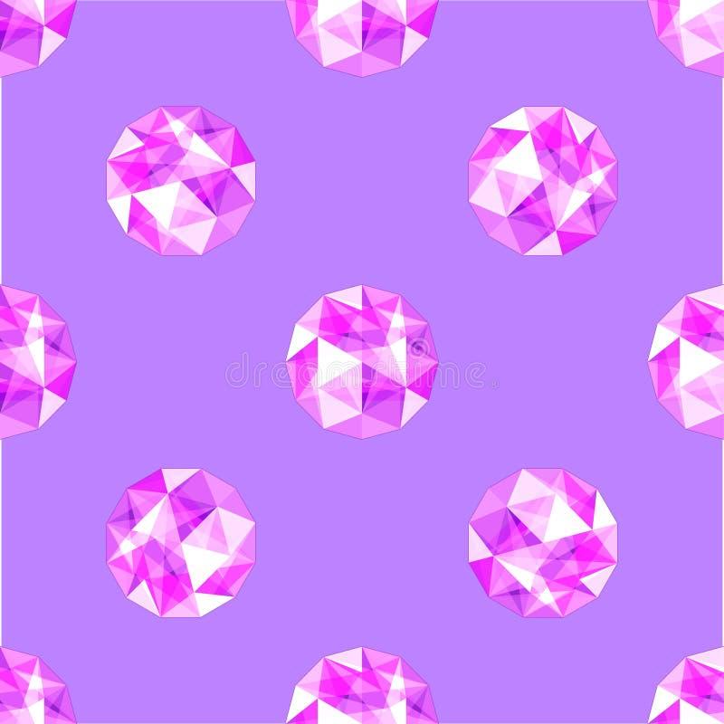 现实紫色紫色的宝石的无缝的样式 也corel凹道例证向量 皇族释放例证
