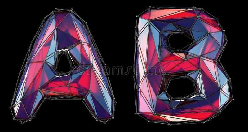现实3D信件集合A,B做了低多样式 低多样式红色玻璃的汇集标志隔绝了  库存例证