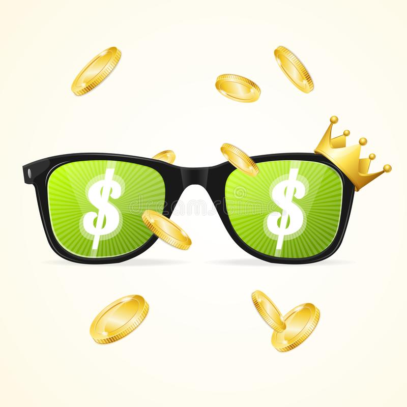 现实3d太阳镜上色了透镜优胜者赌博娱乐场概念 向量 向量例证