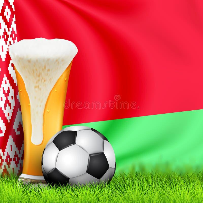 现实3d杯啤酒和足球在绿草与白俄罗斯的全国挥动的旗子 世界杯橄榄球2019年 设计  皇族释放例证