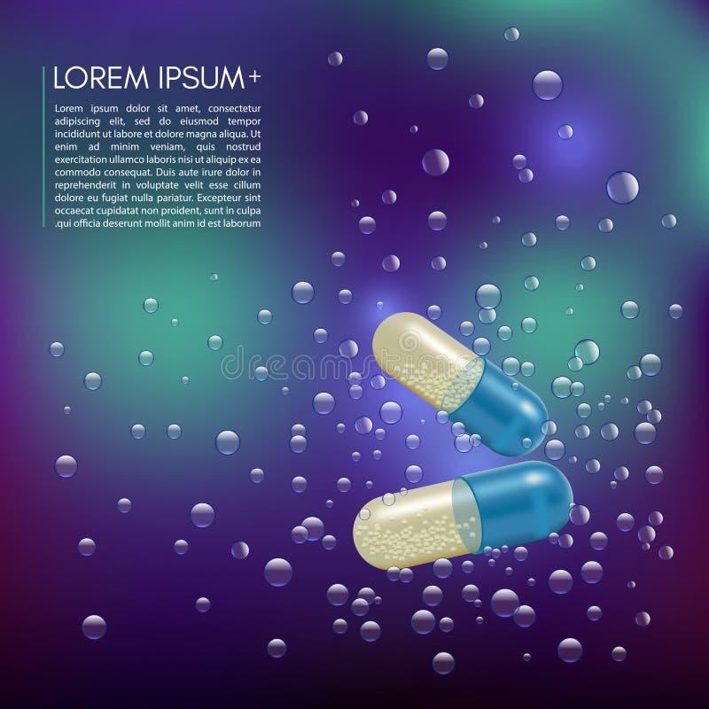 现实3d药片在与泡影的水中 药房,抗生素,维生素,片剂,胶囊 医学 向量 向量例证