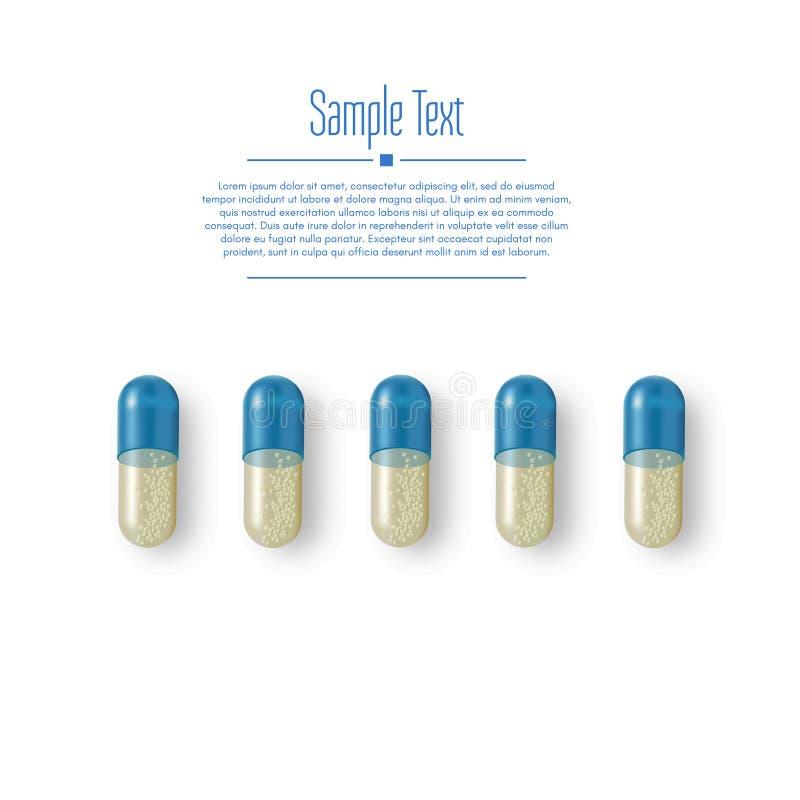 现实3d药片 药房,抗生素,维生素,片剂,胶囊 医学 片剂的传染媒介例证和 向量例证