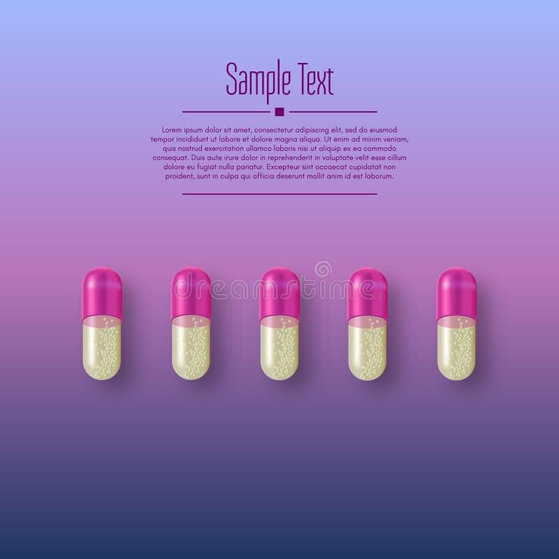 现实3d药片 药房,抗生素,维生素,片剂,胶囊 医学 片剂的传染媒介例证和 库存例证