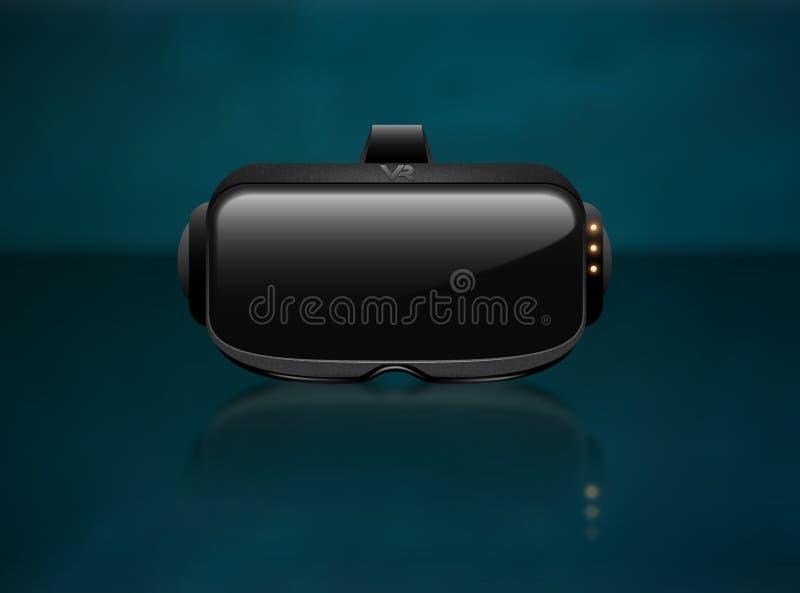 现实3d虚拟现实耳机箱子特写镜头正面图 未来派创新数字式网际空间技术模仿标志 向量例证
