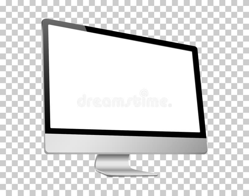 现实3D计算机留给看法,一个白色屏幕,被隔绝在transparancy背景 库存例证