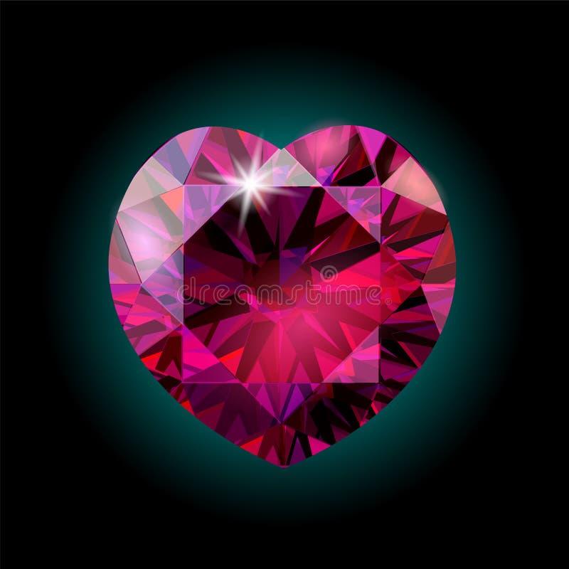 现实3D详述了发光的红色水晶红宝石心脏 情人节浪漫假日装饰桃红色红色宝石金刚石 向量例证