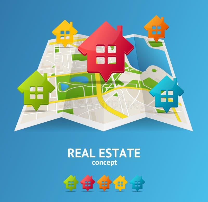 现实3d详述了城市地图房地产概念 向量 皇族释放例证